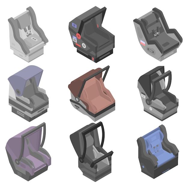Set di icone di seggiolino auto per bambini, stile isometrico Vettore Premium