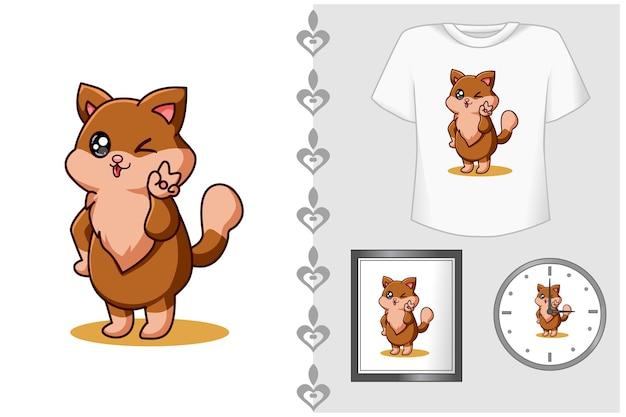 Gatto bambino con illustrazione di cartone animato carineria Vettore Premium