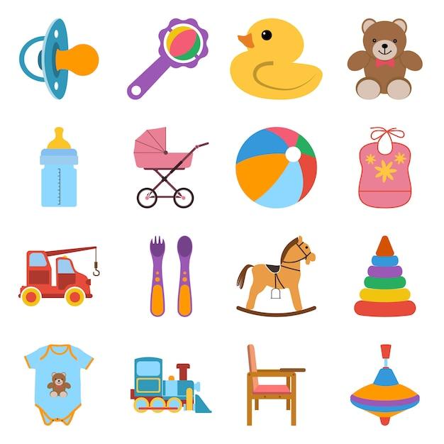 Baby set di icone colorate. icone illustrazione vettoriale in design piatto. Vettore Premium
