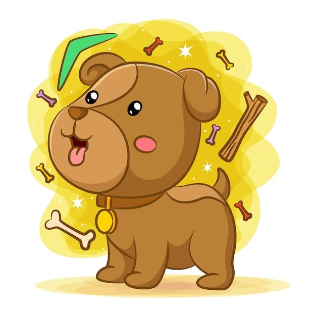 Cucciolo di cane che gioca con le ossa e il boomerang verde Vettore Premium