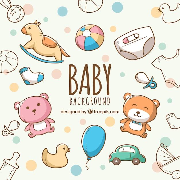 Sfondo di elementi del bambino con simpatici giocattoli e vestiti Vettore Premium