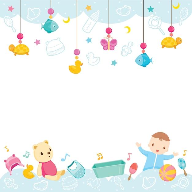 Baby icone e oggetti di sfondo, attrezzature e giocattoli per neonati Vettore Premium