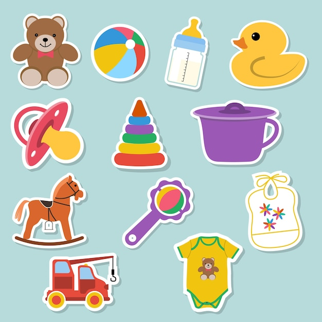 Adesivi illustrazioni per bambini Vettore Premium