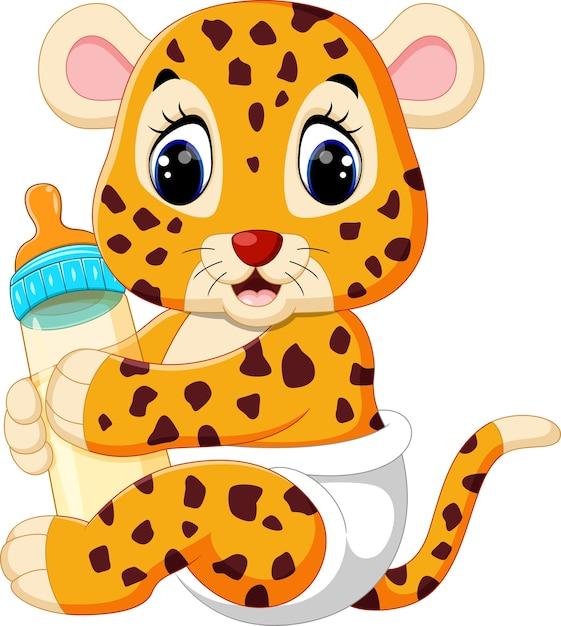 Leopardo del bambino che tiene la bottiglia per il latte Vettore Premium