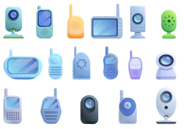 Baby monitor set di icone, stile cartoon Vettore Premium