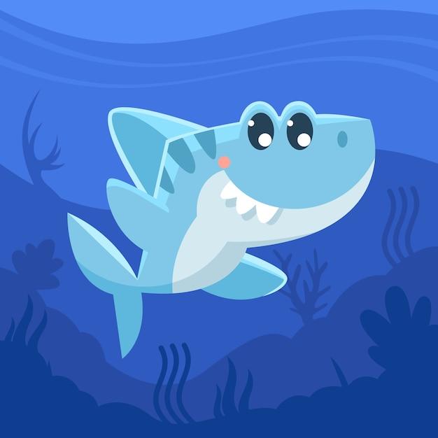 Cartone animato squalo bambino Vettore Premium
