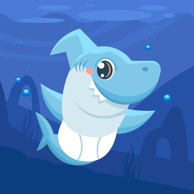 Illustrazione di squalo bambino Vettore Premium
