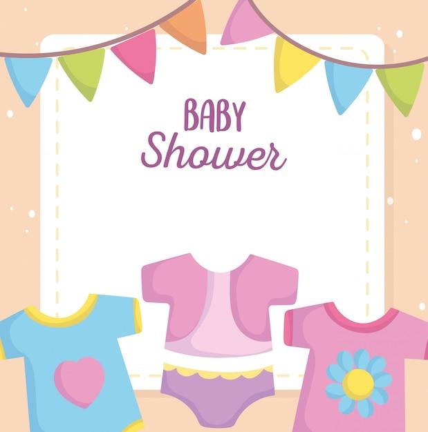 Baby shower, abiti tuta body cartoon, annuncio carta di benvenuto neonato Vettore Premium