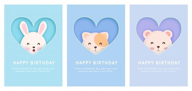 Scheda dell'acquazzone di bambino, scheda del modello di auguri di compleanno con coniglio, gatto e orso in stile taglio carta. Vettore Premium