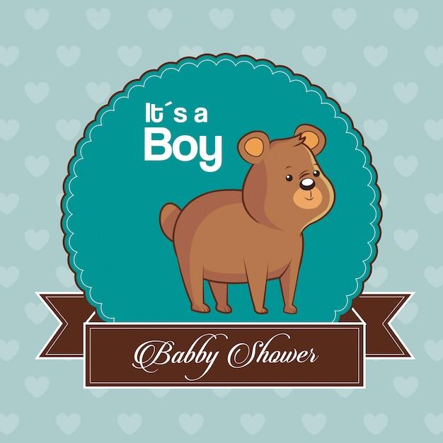 Invito di carta baby shower è un ragazzo con un simpatico orso Vettore Premium