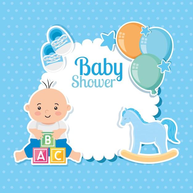 Scheda dell'acquazzone di bambino con neonato e decorazione Vettore Premium