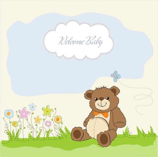 Baby shower card con simpatico orsacchiotto Vettore Premium