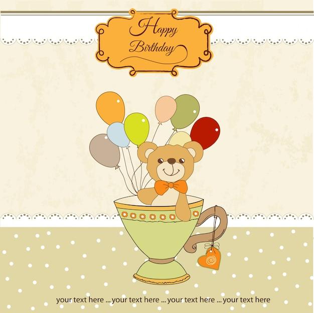Carta di baby shower con tenero orsacchiotto Vettore Premium