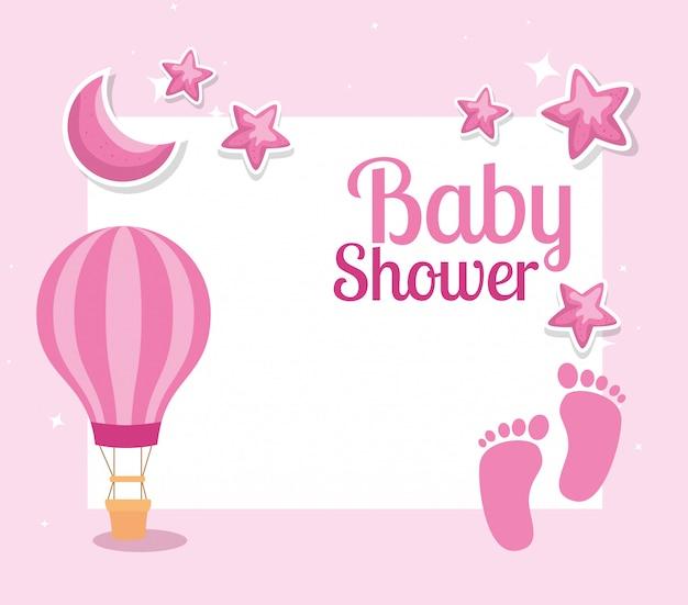 Scheda dell'acquazzone di bambino con impronte e decorazione Vettore Premium