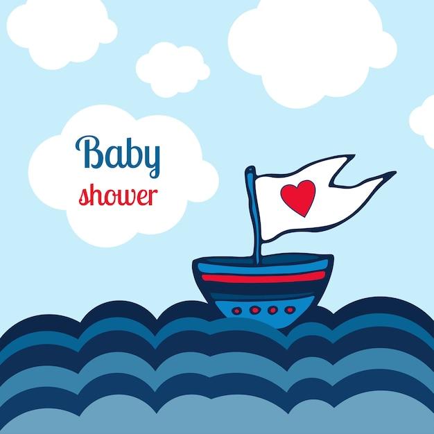 Scheda doccia baby con nave, mare e nuvole design. illustrazione dei giocattoli dei bambini di vettore Vettore Premium