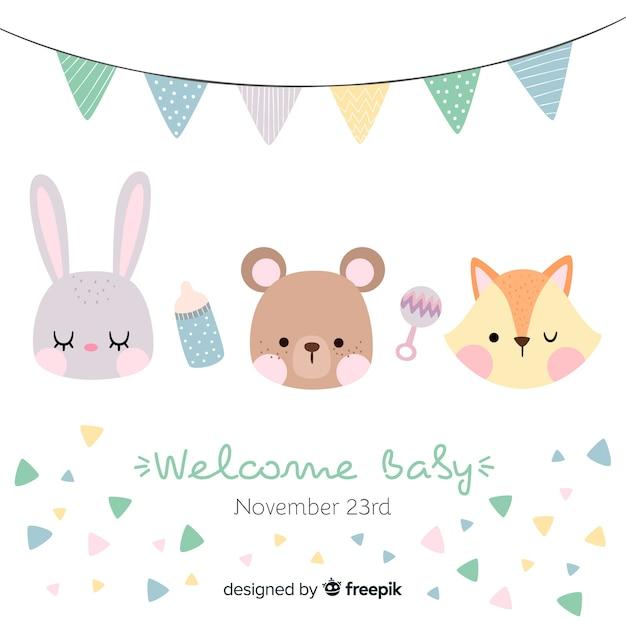 Baby shower card Vettore Premium
