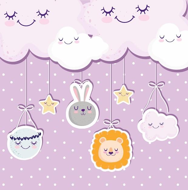 Baby shower nuvole luna leone coniglio celebrazione biglietto di auguri illustrazione vettoriale Vettore Premium