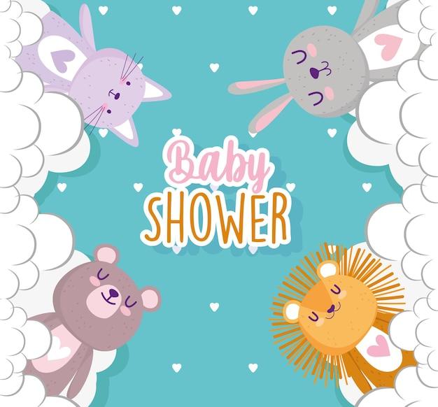 Baby shower, simpatici animali con nuvole celebrazione illustrazione vettoriale Vettore Premium