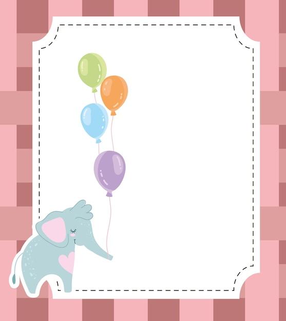 Baby shower carino elefante e palloncini invito carta illustrazione vettoriale Vettore Premium