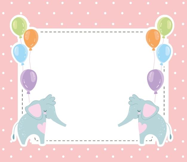Baby shower simpatici elefanti animali e palloncini invito carta illustrazione vettoriale Vettore Premium