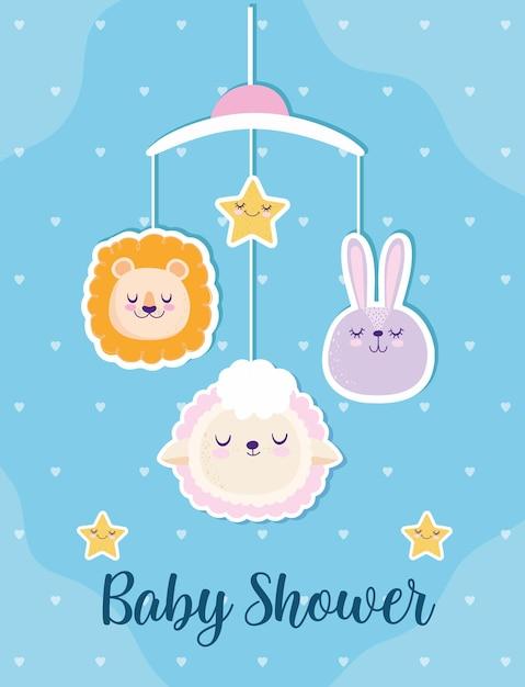 Baby doccia carino leone coniglietto e pecore decorazione mobile illustrazione vettoriale Vettore Premium