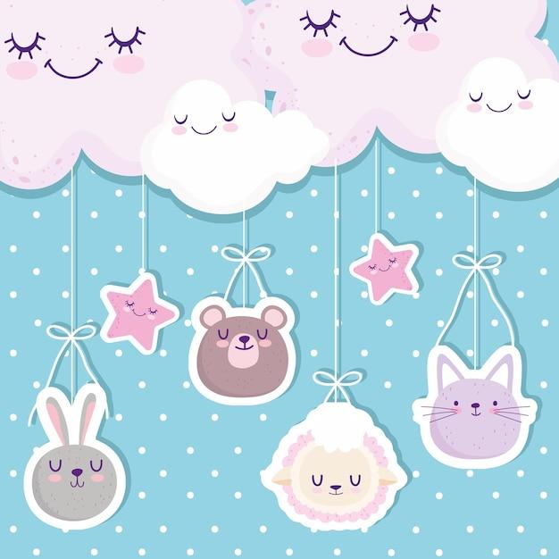 Baby shower appeso simpatici animali affronta nuvole stelle fumetto illustrazione vettoriale Vettore Premium