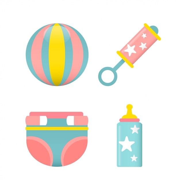 Vettore stabilito dell'icona della doccia di bambino Vettore Premium