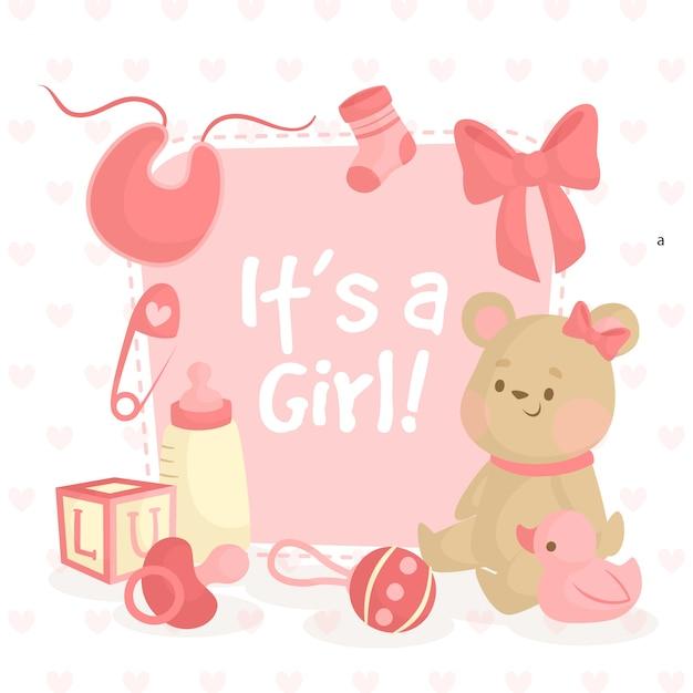 Illustrazione della doccia di bambino con l'orsacchiotto per la ragazza Vettore Premium