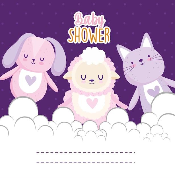 Baby doccia invito carta simpatico coniglietto gatto pecore animali illustrazione vettoriale Vettore Premium
