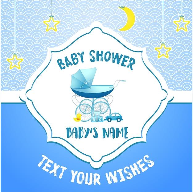 Modello di carta di invito baby shower Vettore Premium