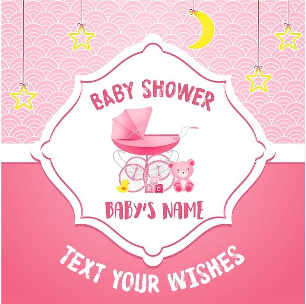 Modello di carta di invito baby doccia Vettore Premium