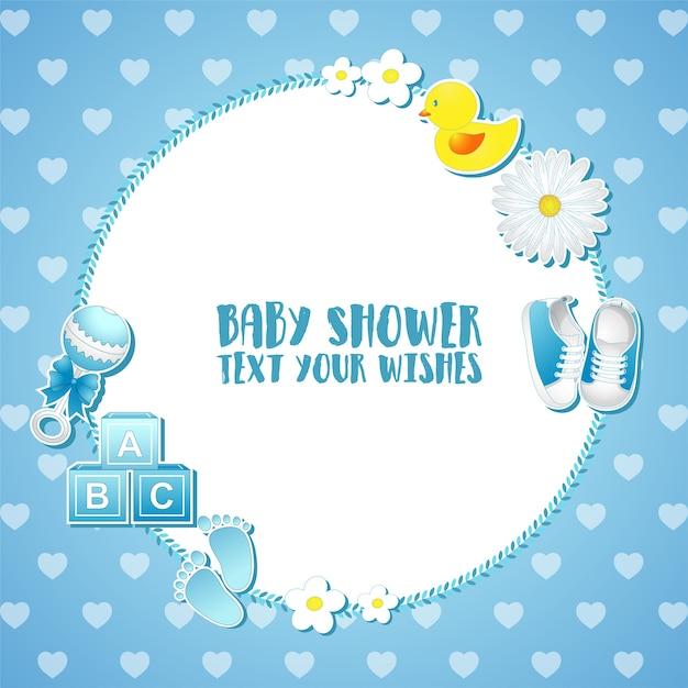 Carta di invito baby doccia Vettore Premium