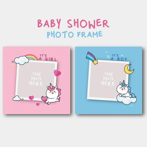 Modello di invito baby shower con simpatico unicorno Vettore Premium