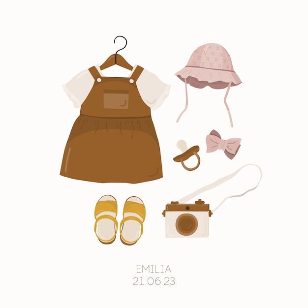 Baby shower invitation con abbigliamento per bambini. modello di carta per bambini. Vettore Premium