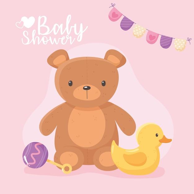 Baby shower, bambini giocattolo orsacchiotto anatra e illustrazione vettoriale sonaglio Vettore Premium