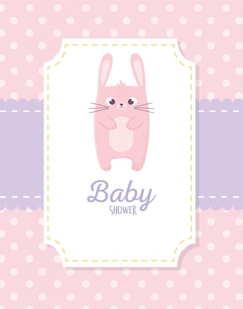 Baby shower, carta decorazione adesivo coniglio rosa Vettore Premium