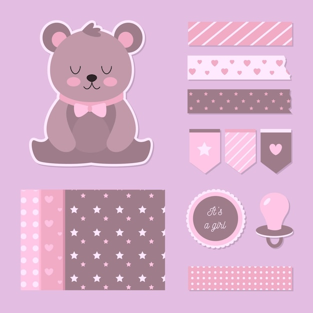 Set di album per baby shower Vettore Premium