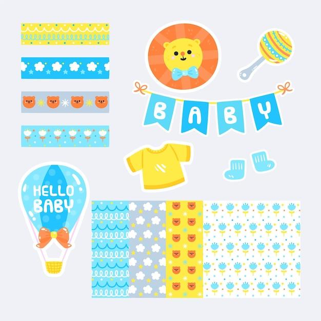 Set di album per baby shower Vettore Premium