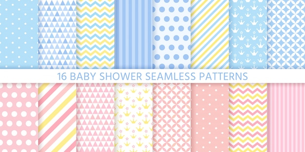 Modelli senza cuciture di baby shower per bambina e ragazzo. illustrazione. Vettore Premium
