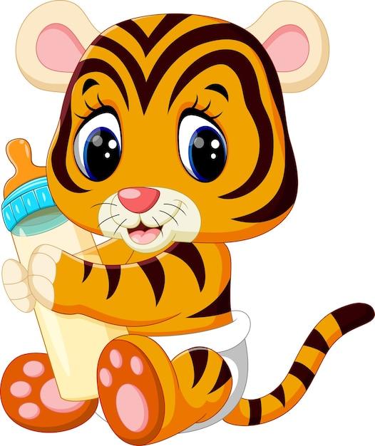 Baby tiger holding latte bottiglia Vettore Premium
