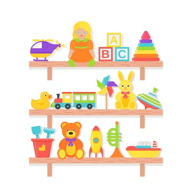 Giocattolo per bambini sulla mensola. . impostare i giocattoli per bambini. roba del bambino sullo scaffale di legno isolato. illustrazione di cartone colorato. icone dei bambini della raccolta in piano. Vettore Premium