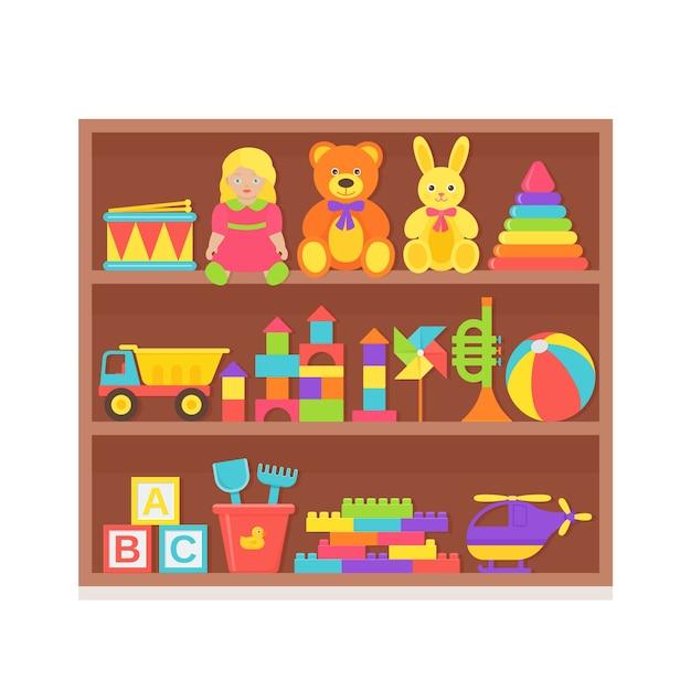 Giocattolo per bambini sullo scaffale. impostare i giocattoli per bambini sulla cremagliera di legno. roba per bambini isolato in design piatto. Vettore Premium