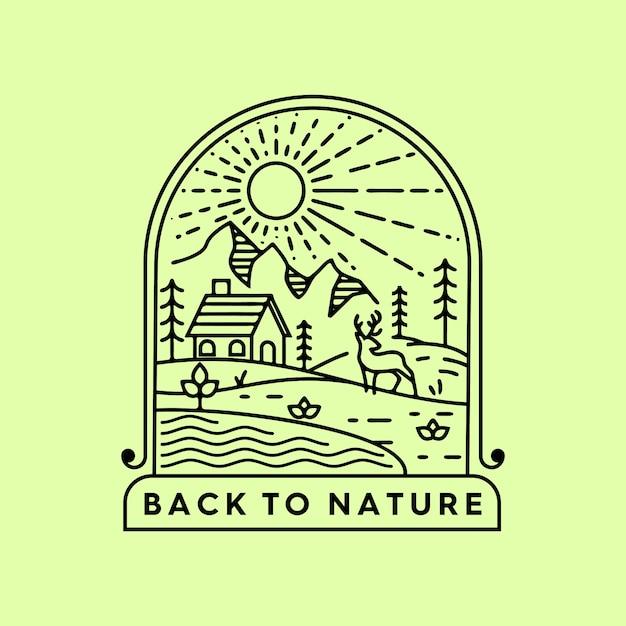 Torna alla natura monoline Vettore Premium