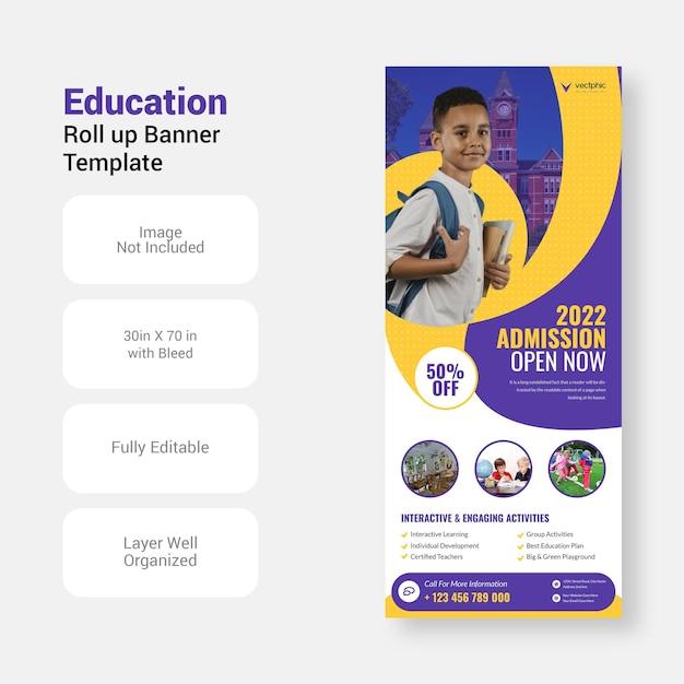 Torna a scuola di ammissione all'istruzione studio xbanner design roll up banner template Vettore Premium