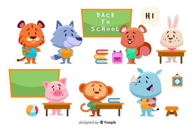 Ritorno a scuola collezione di cartoni animati animali Vettore Premium