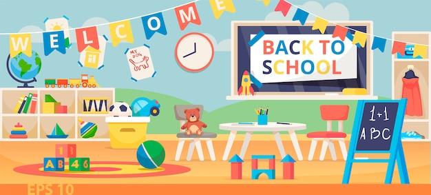 Torna a scuola banner illustrazione. prima giornata scolastica, giornata della conoscenza, 1 settembre. aula prescolare con scrivania, sedie e giocattoli. Vettore Premium