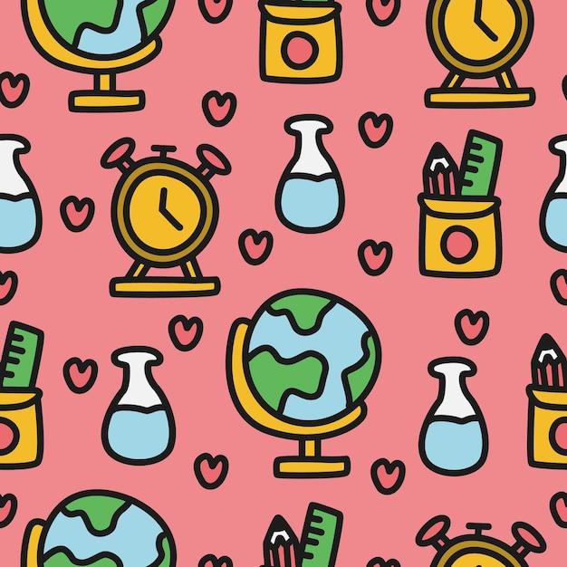 Torna a scuola cartoon doodle pattern design illustrazione Vettore Premium