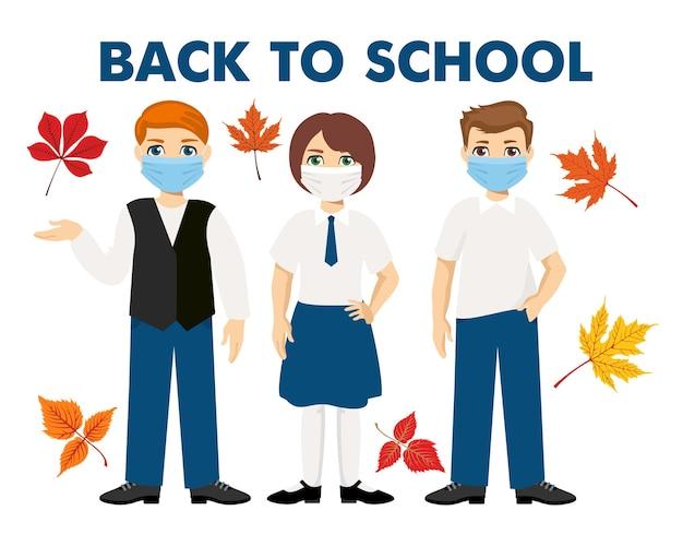 Di nuovo a scuola. uniforme per bambini che indossa maschere igieniche. nuovo concetto normale. amici a scuola. bambini in uniforme. Vettore Premium