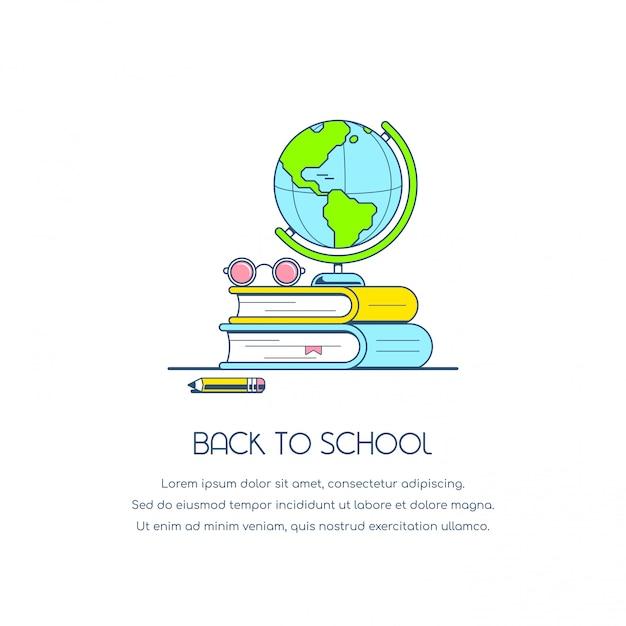 Torna alla bandiera del concetto di scuola. illustrazione di stile piatto. Vettore Premium