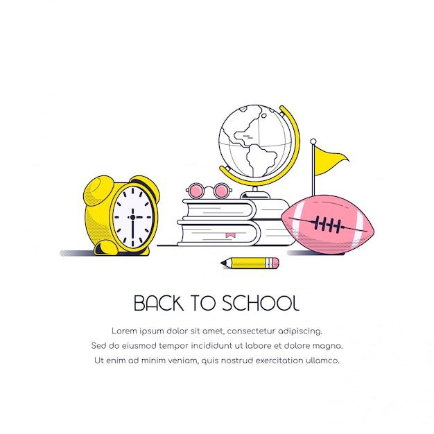 Torna al banner del concetto di scuola. immagine di natura morta con libri, occhiali da vista, globo, matita, calcio e sveglia isolati su priorità bassa bianca. Vettore Premium